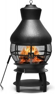 Giantex Wood Burning Chiminea, Heavy Duty Fireplace Wooden Chiminea Fire Pit with 2-Piece Log Grate