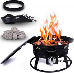 Project One Portable Outdoor Propane Fire Pit with Cover