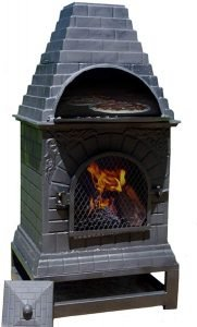 The Blue Rooster Casita Wood Burning Chiminea Outdoor Fireplace Grill and Oven